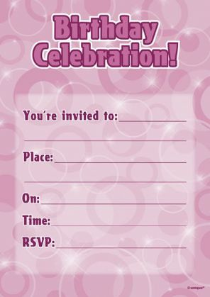 Pink Glitz Birthday Invitations